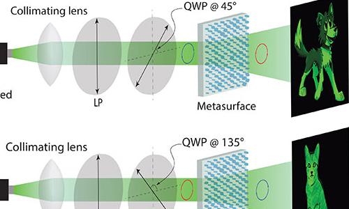 A metasurface encodes two holograms